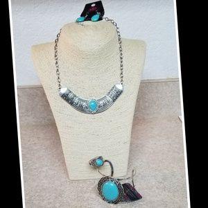 Set Turquoise Necklace Earrings Bracelet Ring